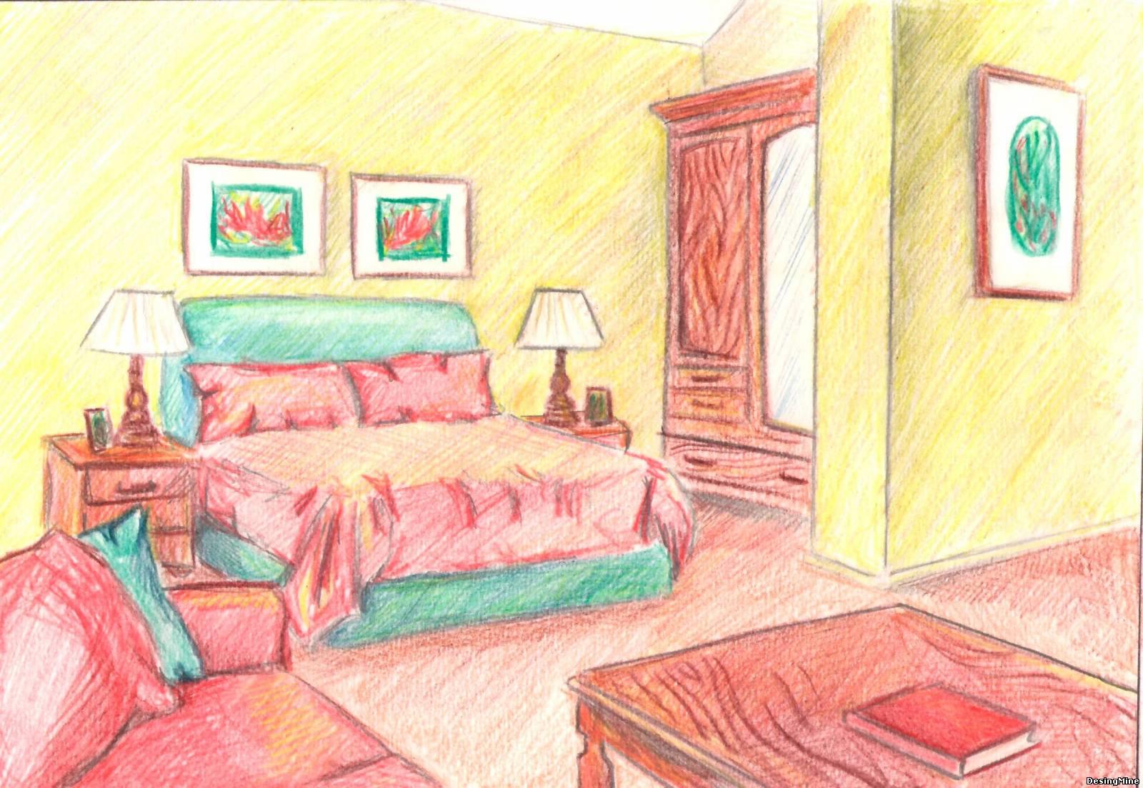 с красками мебелью комнаты рисунок