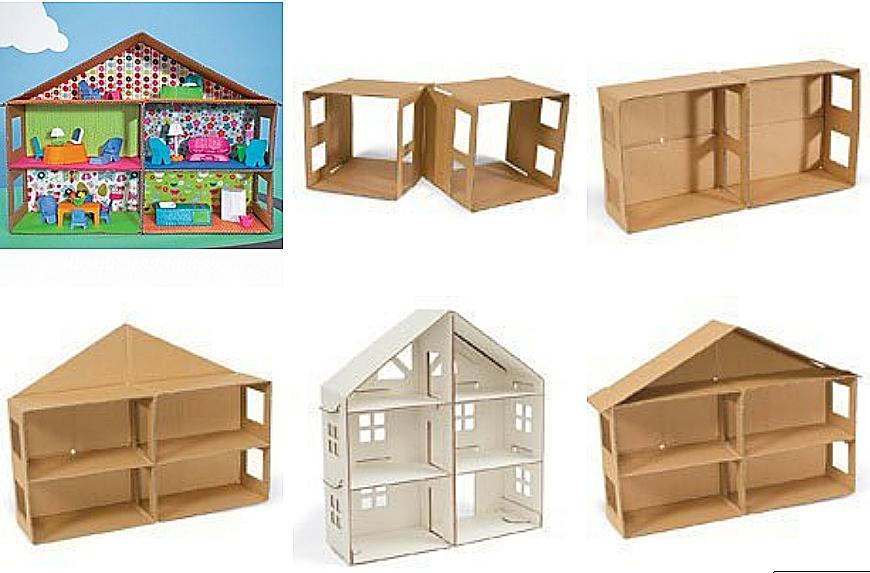 Кукольный домик своими руками из картона шаблон
